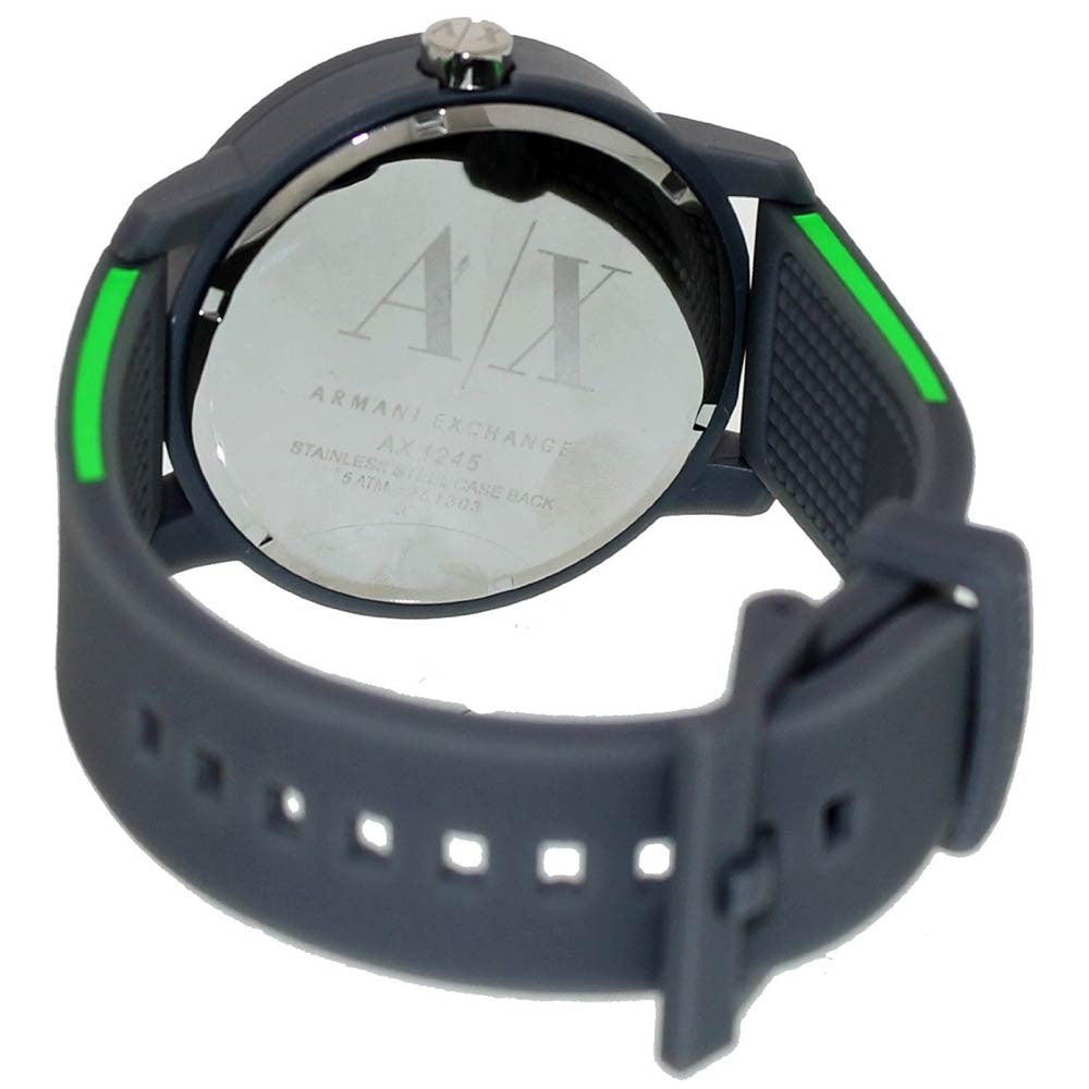 Armani Exchange AX1245 Unisex Green Accent Grey Dial Grey Rubber Strap Watch