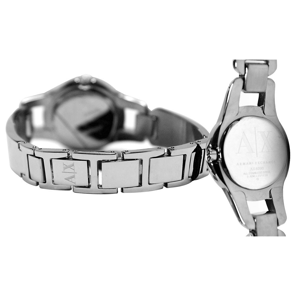 Armani Exchange AX4090 Women's Black Dial Stainless Steel Bangle Bracelet Watch