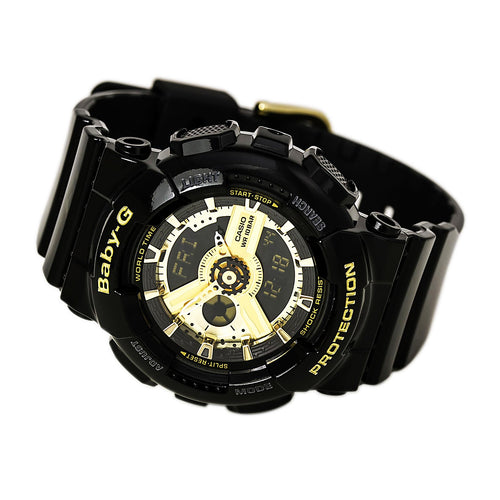 Casio BA110-1A Women's Baby-G Black & Gold Dial Black Resin Strap Alarm Watch