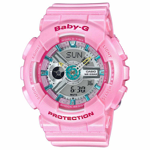 Casio BA110CA-4A Women's Baby-G Ana-Digi Grey Dial Pink Resin Strap World Time Alarm Watch