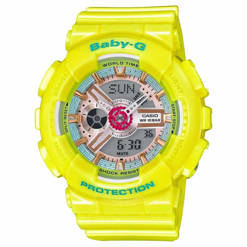 Casio BA110CA-9A Women's Baby-G Ana-Digi Grey Dial Yellow Resin Strap World Time Alarm Watch
