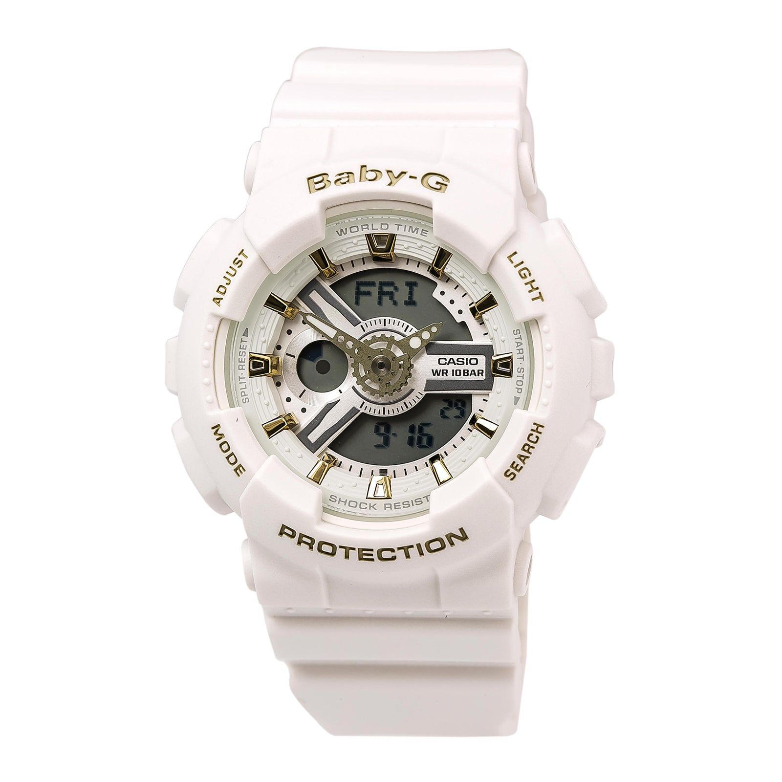 Casio BA110GA-7A1 Women's Baby-G Ana-Digital 3D Grey Dial White Resin World Time Watch