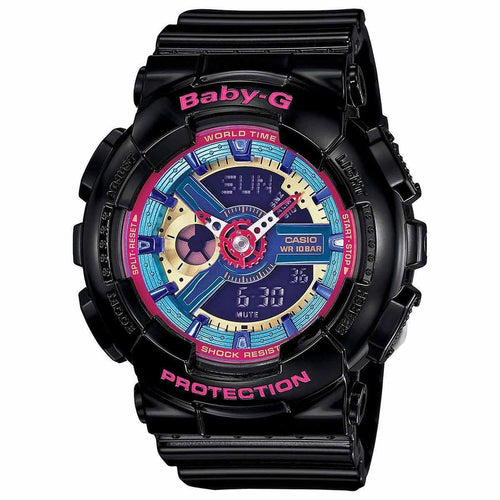 Casio BA112-1A Women's Baby-G Ana-Digi Dial World Time Black Resin Alarm Watch