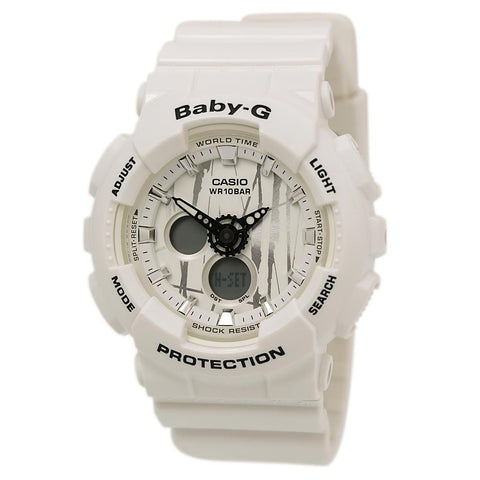 Casio BGA180-9B Women's Baby-G Tide Graph Ana-Digi White Dial Yellow Resin Strap Alarm Watch