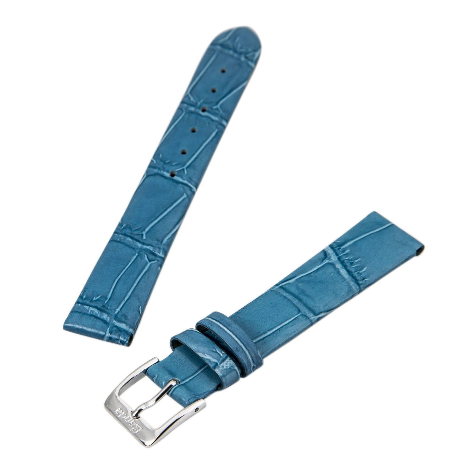 Banda Light Blue 16 mm Wide Genuine Alligator Grain Leather Band