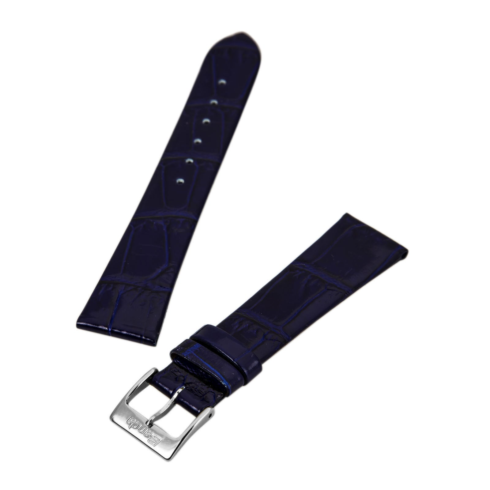 Banda Navy Blue 20 mm Wide Genuine Alligator Grain Leather Band