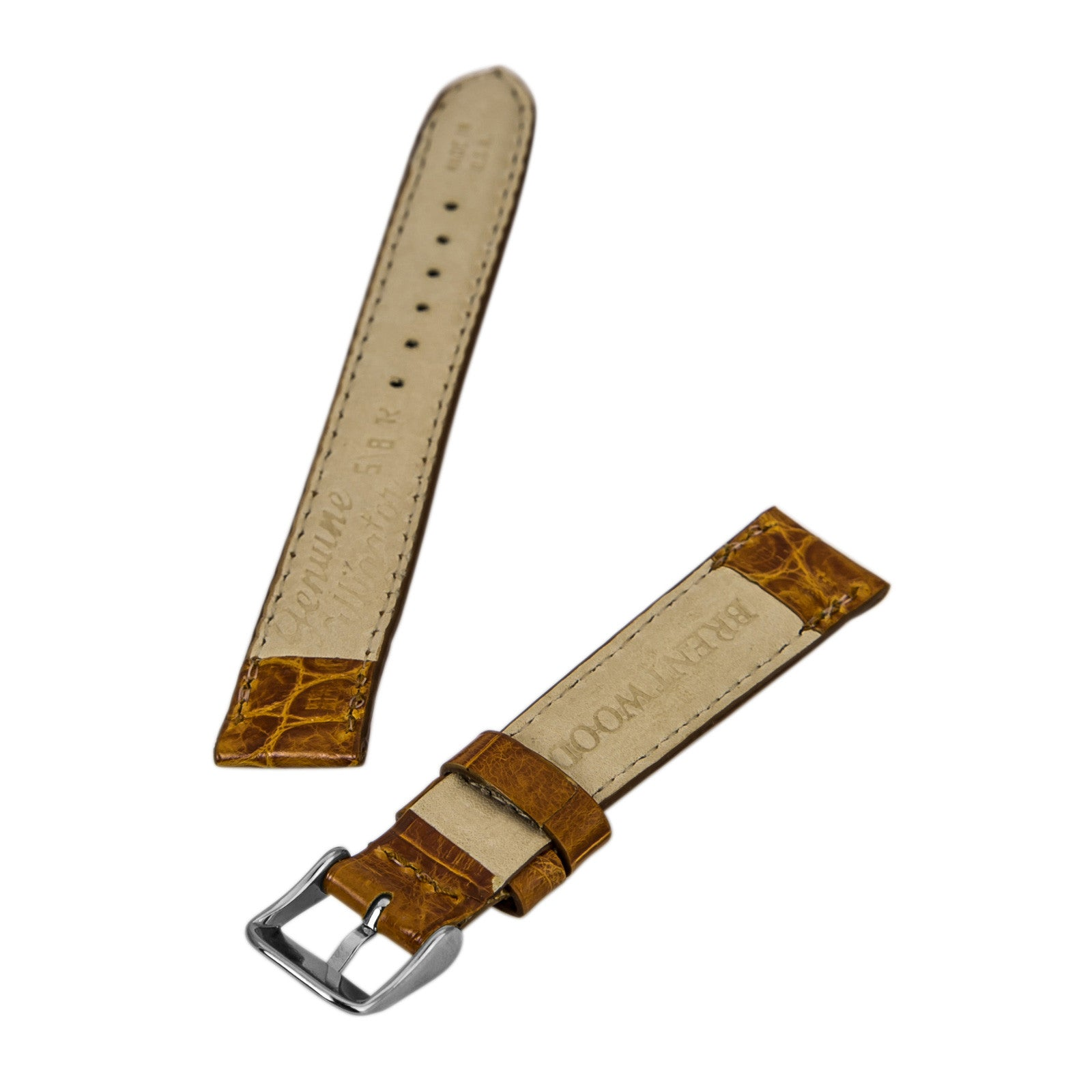 Brentwood Honey 16 mm Wide Genuine Alligator Leather Band