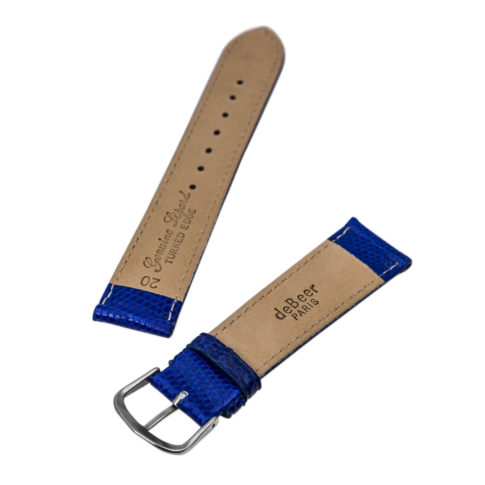 Debeer Royal Blue 20 mm Wide Genuine Lizard Leather Strap
