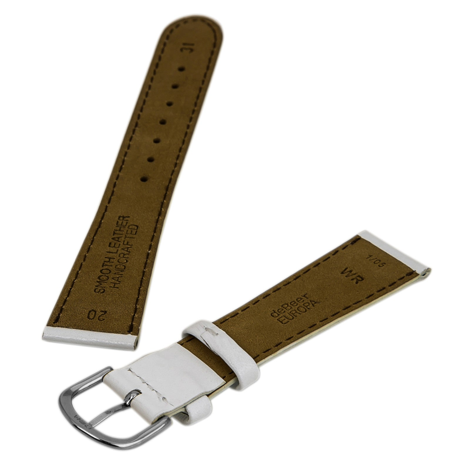 Debeer 's White 20 mm Wide Smooth Genuine Leather Strap