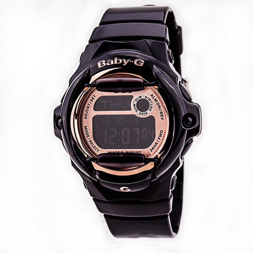 Casio BG169G-1 Women's Baby-G Rose Gold & Black Digital Dial Black Resin Alarm Databank Dive Watch