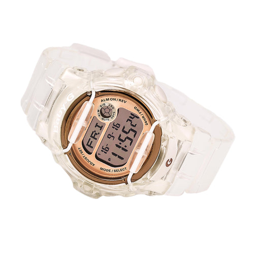 Casio BG169G-7B Women's Baby-G Rose Gold & Grey Digital Dial Clear Transparent Strap Dive Watch