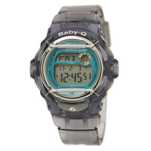 Casio BG169R-8B Women's Baby-G Teal & Grey Digital Dial Black Transparent Resin Strap Dive Watch