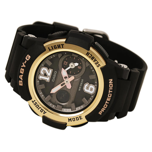 Casio BGA210-1B Women's Baby-G Sports Ana-Digi Black Dial Black Resin Strap Alarm Watch