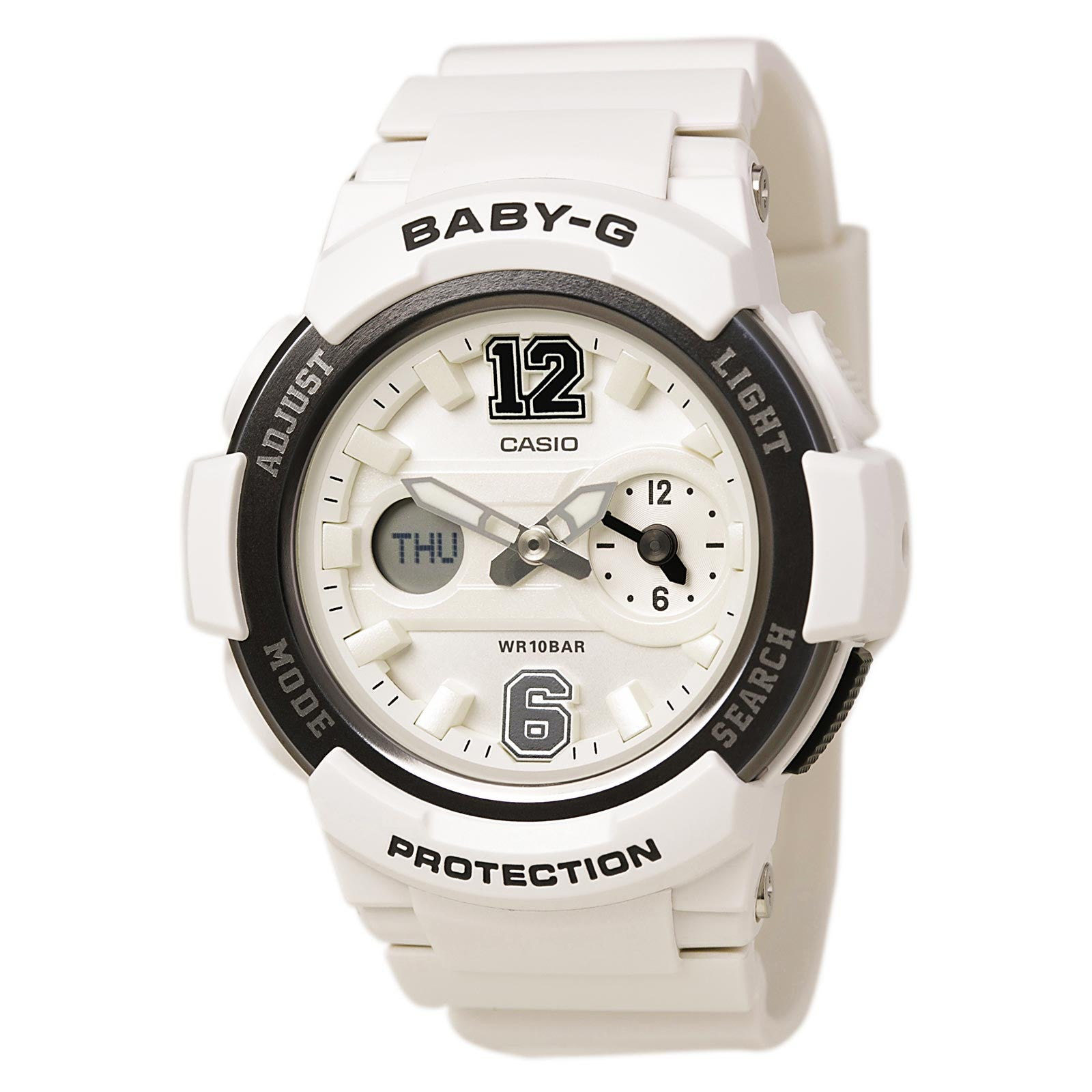 Casio BGA210-7B1 Women's Baby-G Sports Ana-Digi White Dial White Resin Strap Alarm Watch