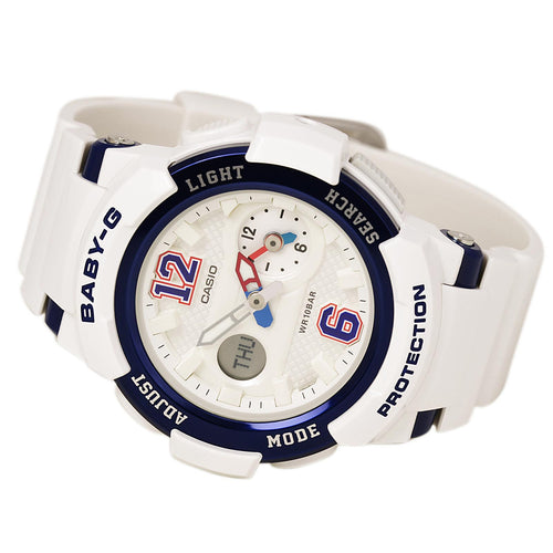 Casio BGA210-7B2 Women's Baby-G Sports Ana-Digi White Dial White Resin Strap World Time Alarm Watch
