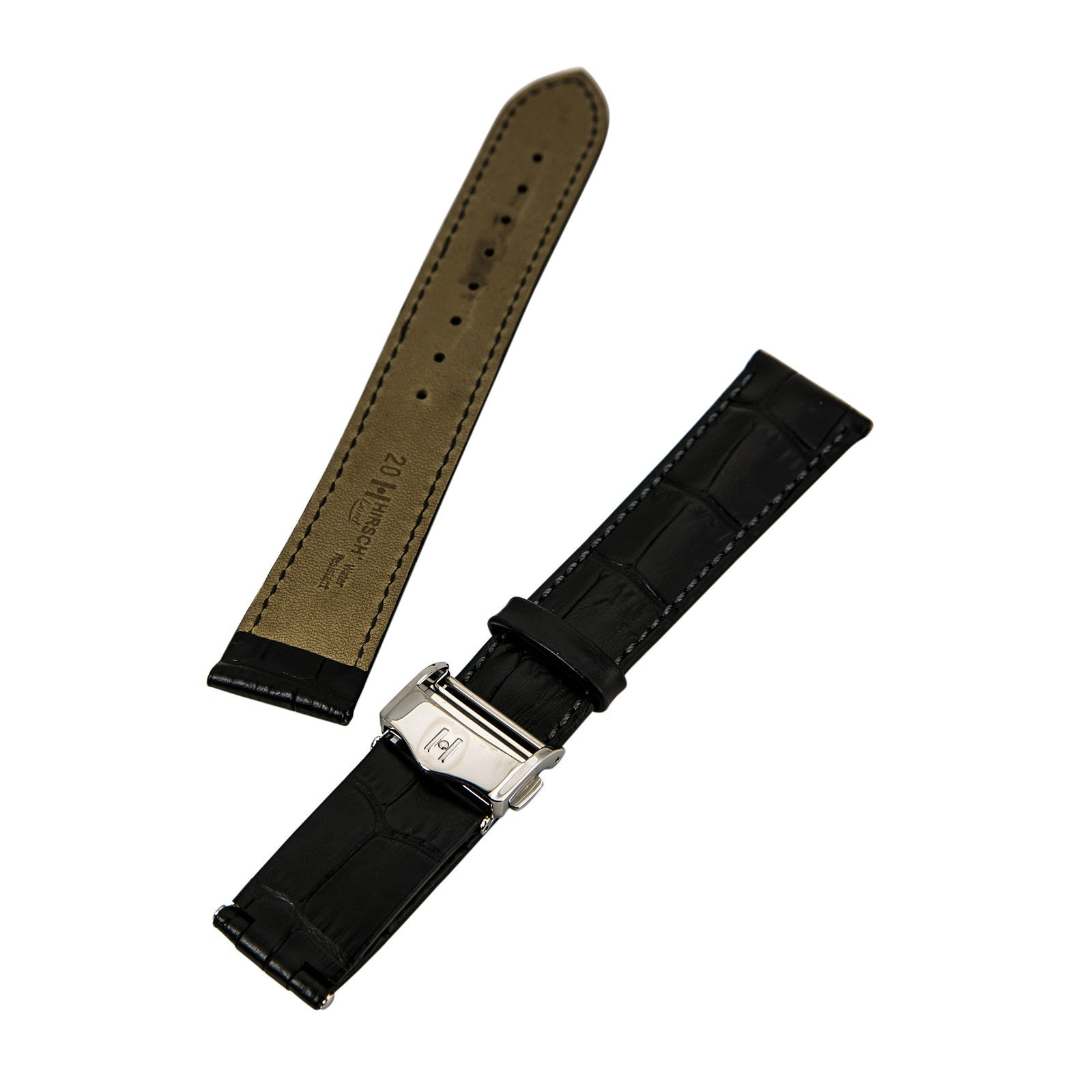Hirsch 's Lord Black 18 mm Wide Alligator Leather Strap