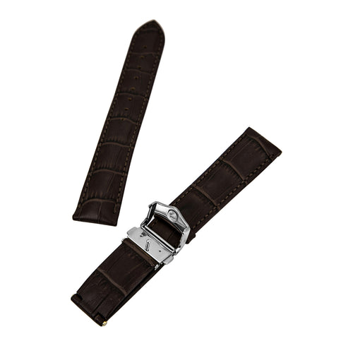 Hirsch 's Lord Brown 20 mm Wide Alligator Leather Strap