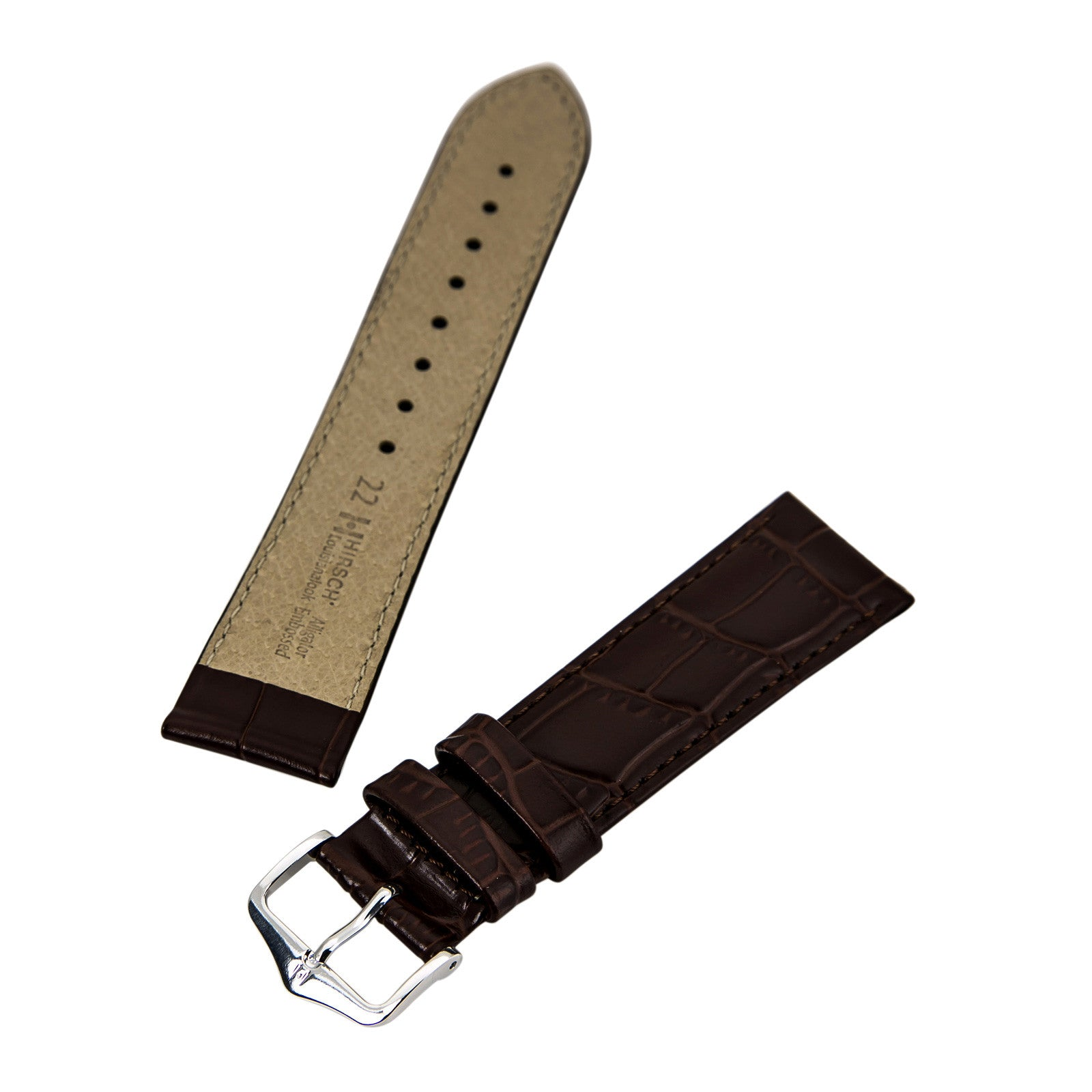 Hirsch Lousisiannalook 's Brown 22 mm Wide Alligator Leather Strap