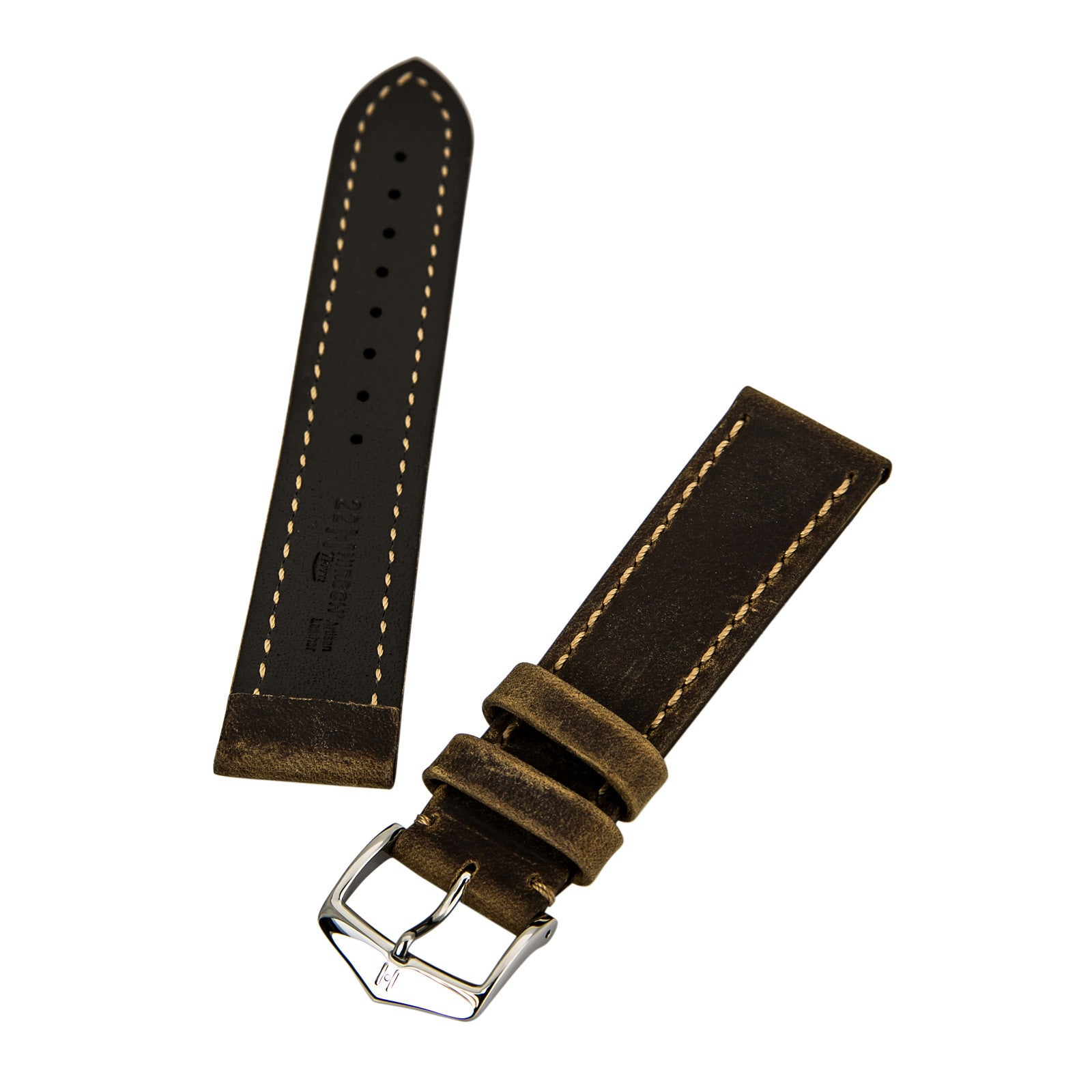 Hirsch Terra 's Gold Brown 22 mm Wide Natural Tuscan Calfskin Leather Strap