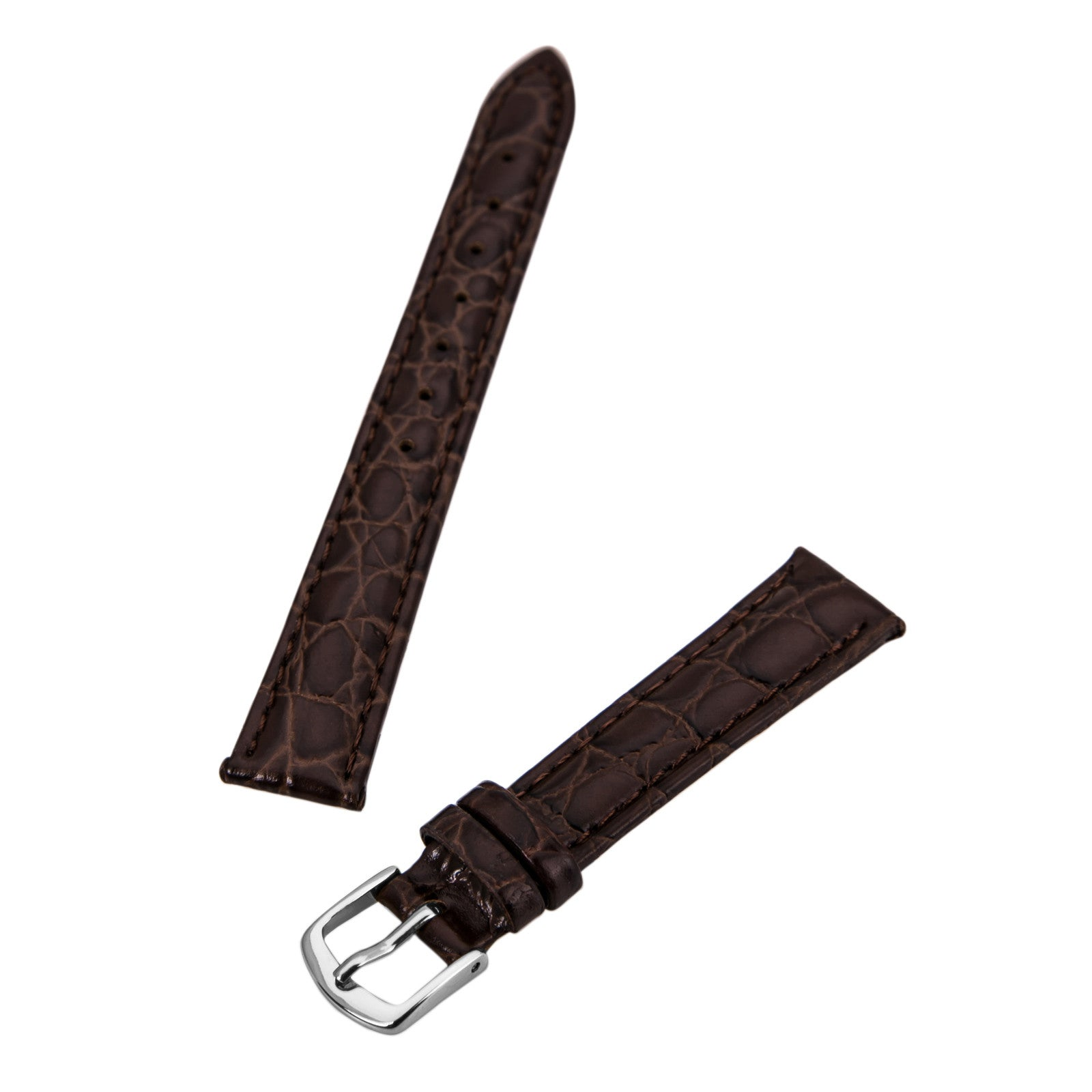 Hadley Roma Brown 14 mm Wide Crocodile Grain Leather Strap