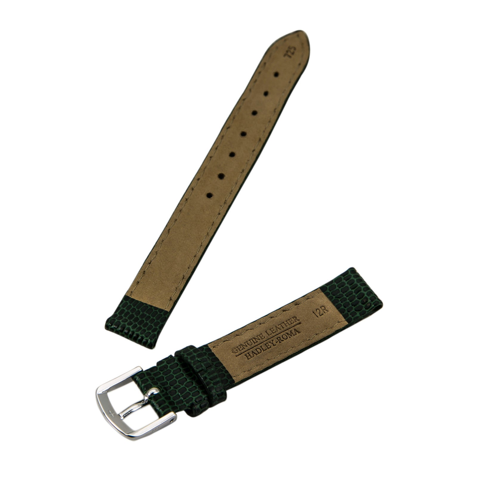Hadley Roma Dark Green 12 mm Wide Java Lizard Grain Leather Strap