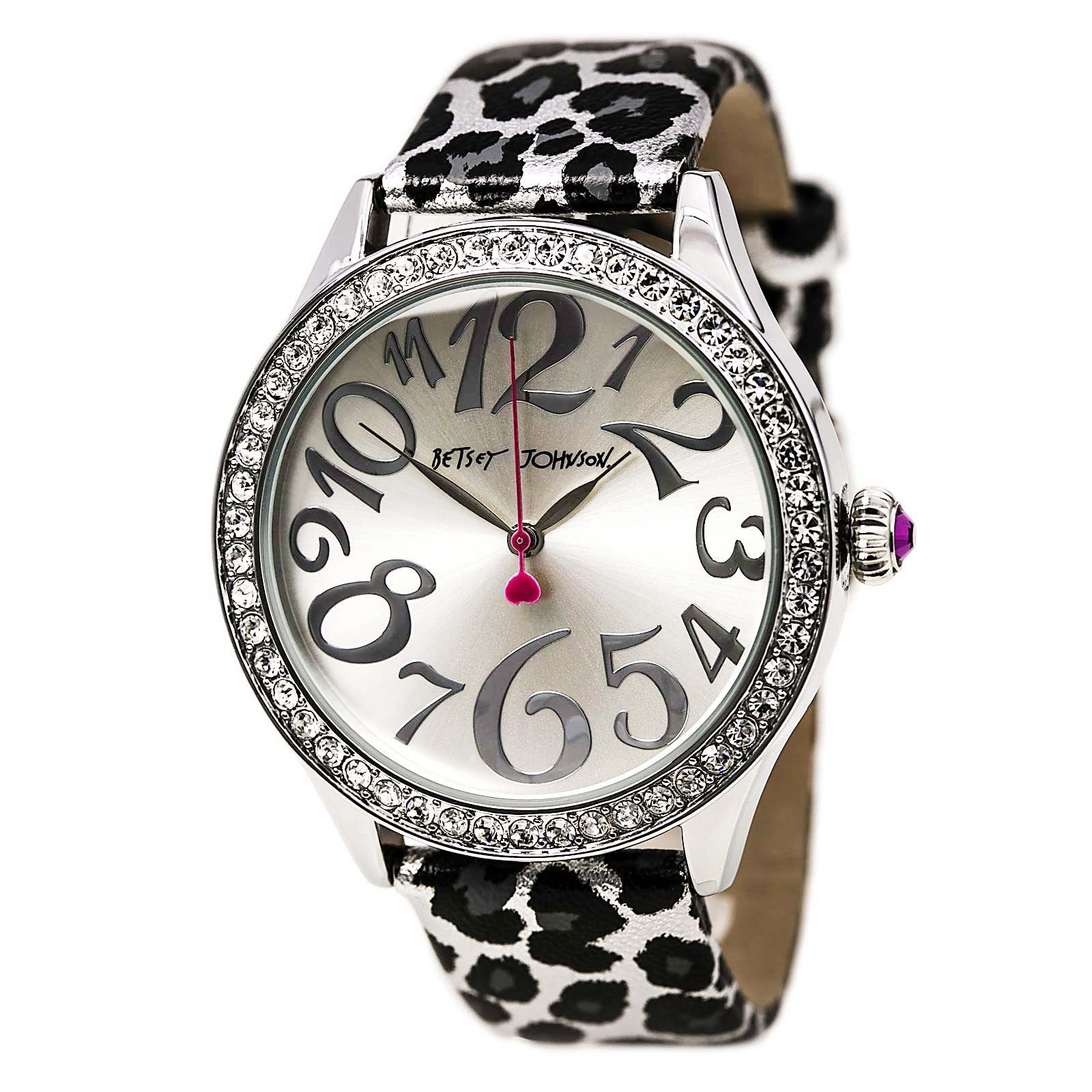 Betsey Johnson BJ00131-09 Women's Crystal Bezel Silver Dial Leopard Printed Leather Strap Watch
