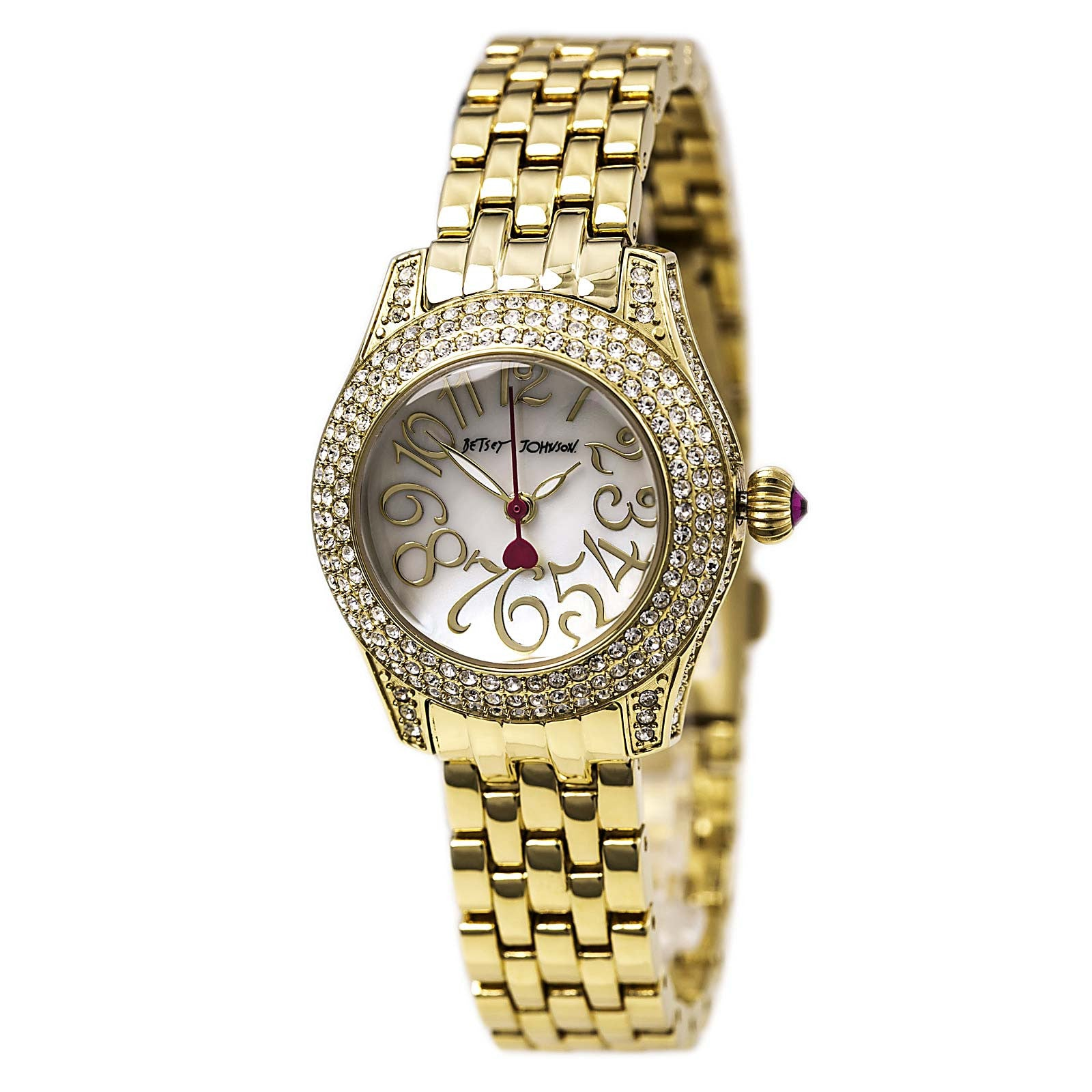 Betsey Johnson BJ00193-06 Women's MOP Dial Yellow Gold Steel Bracelet Watch