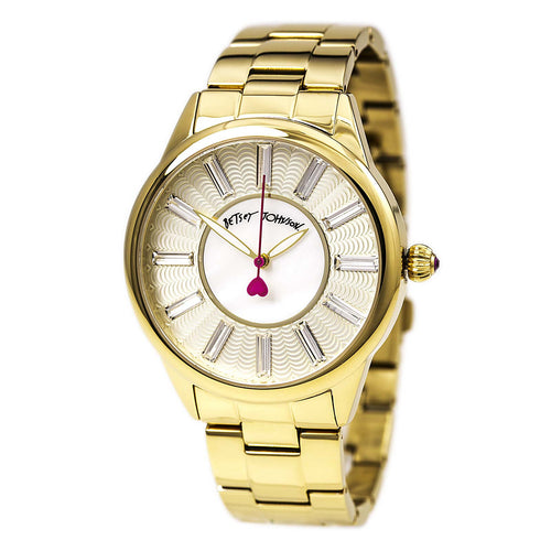 Betsey Johnson BJ00433-02 Women's Yellow Gold Steel Bracelet White MOP Dial Crystal Watch
