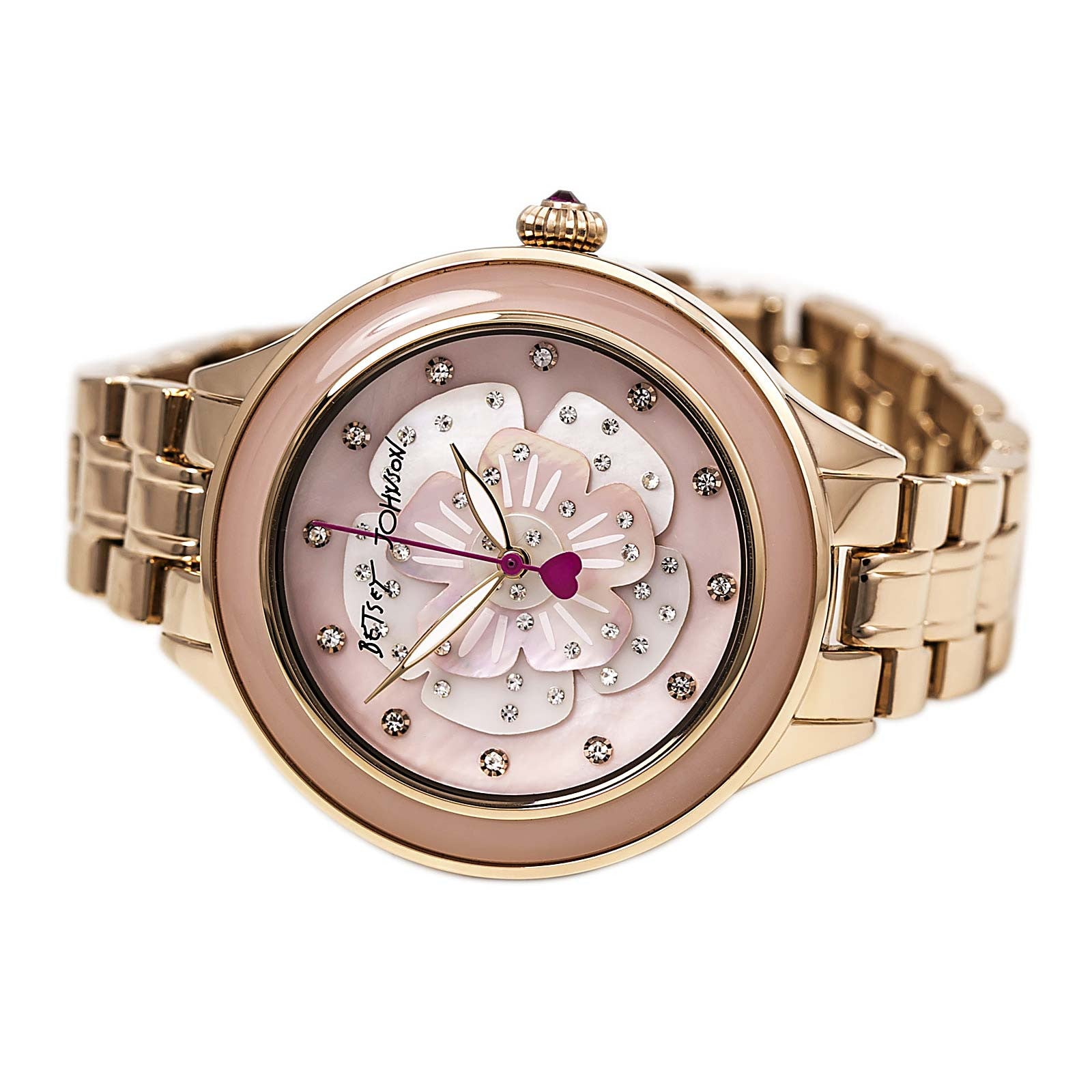 Betsey Johnson BJ00469-04 Women's Flower Pop MOP Dial Rose Gold Steel Bracelet Crystal Watch
