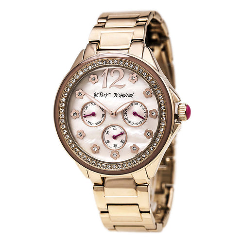 Betsey Johnson BJ00474-03 Women's Crystal Bezel MOP Dial Rose Gold Steel Bracelet Day Date Watch