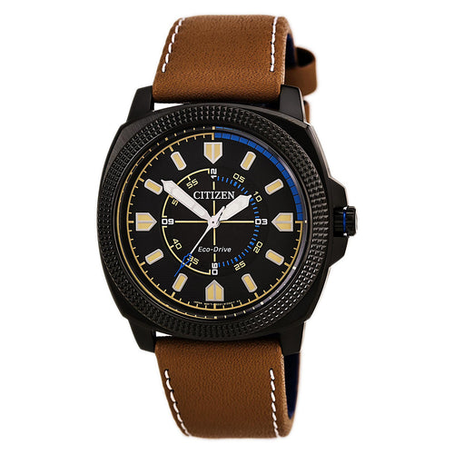 Citizen BJ6475-00E Men's CTO Eco-Drive Sport Black Dial Black IP Steel Brown Leather Strap Watch
