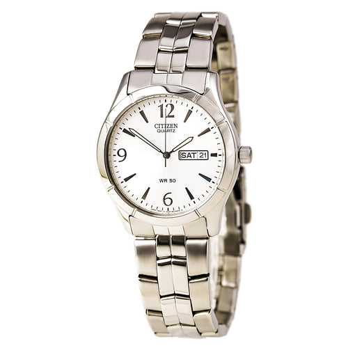 Citizen BK3830-51A Men's Quartz Silver Tone Dial Day Date Stainless Steel Watch