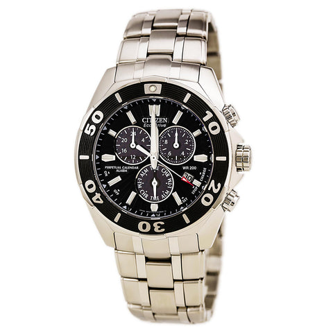 Citizen AT2235-00E Women's BRT 3.0 Eco-Drive Chronograph Black Dial Black IP Steel Watch