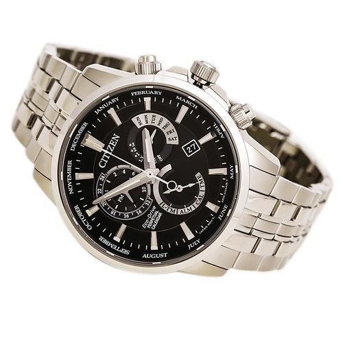 Citizen BL8140-55E Men's Perpetual Calendar Eco-Drive Black Dial Steel Bracelet Watch