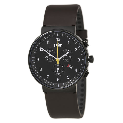 Braun BN0035BKBRG Men's Classic Black Dial Brown Leather Strap Chronograph Watch