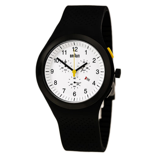 Braun BN0115WHBKBKG Men's Sports White Dial Black Silicone Strap Chronograph Watch