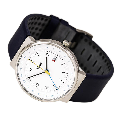 Braun BN0142WHBLG Men's Classic White Dial Blue Leather Strap GMT Watch