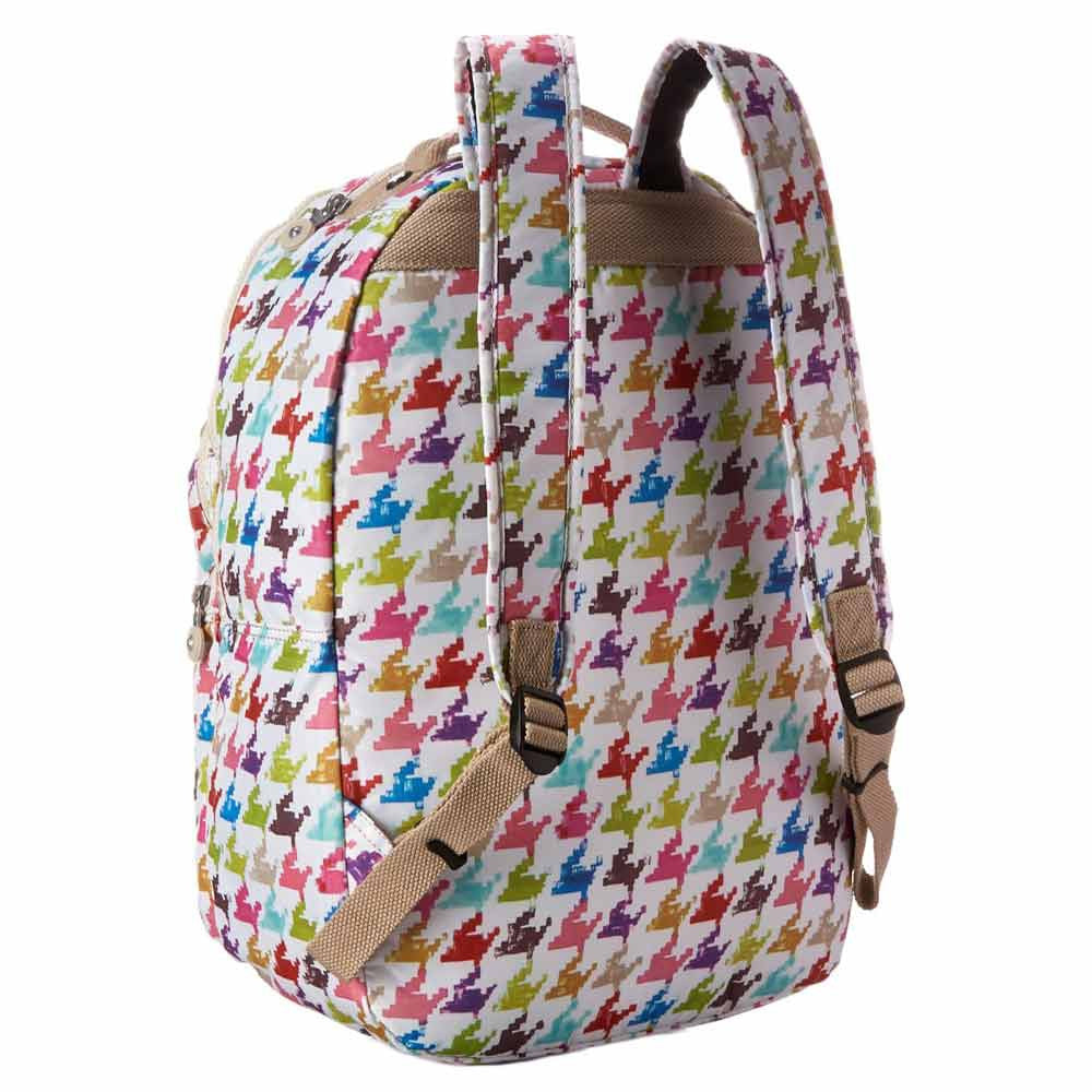 Kipling BP3447-983 Houndstooth Multi Seoul Print Polyester Backpack with Laptop Protection