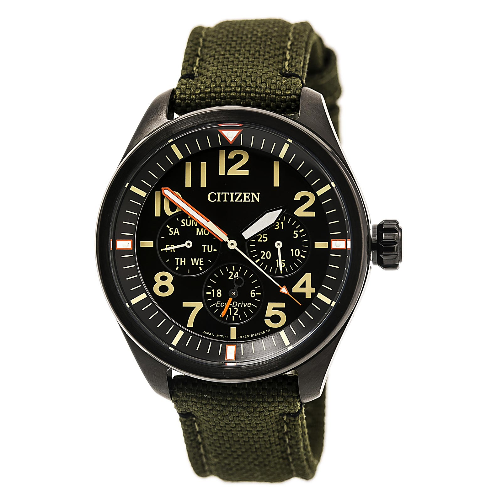Citizen BU2055-16E Men's Chandler Black Dial Dark Green Cordura Canvas Strap Eco-Drive Watch
