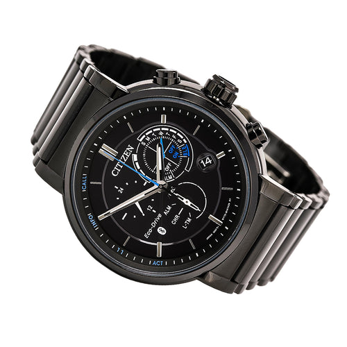 Citizen BZ1005-51E Men's Proximity Eco-Drive Chronograph Bluetooth Black IP Steel Bracelet Watch