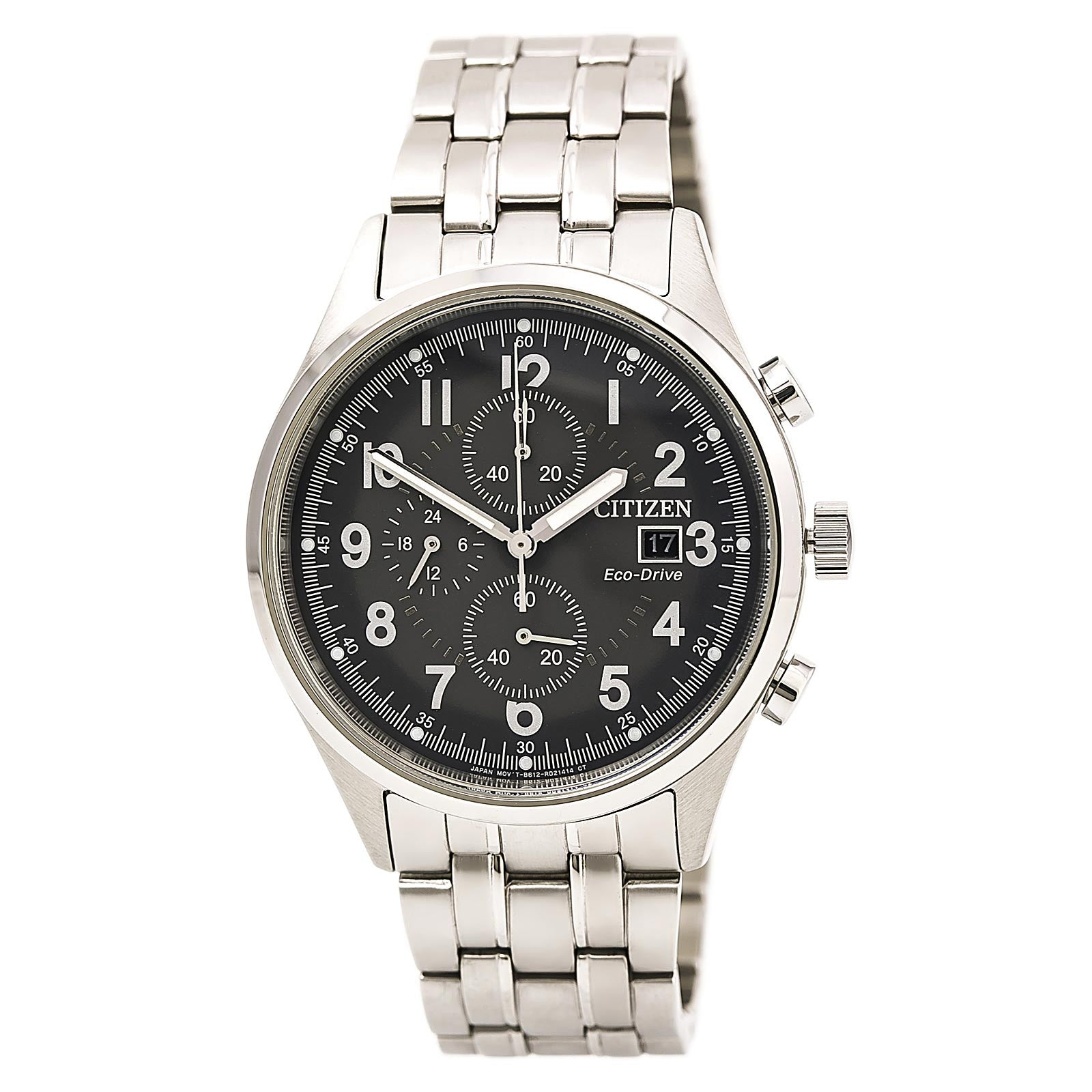 Citizen CA0620-59H Men's Chandler Matte Grey Dial Eco-Drive Chronograph Steel Bracelet Watch