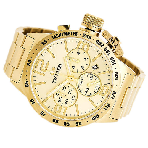 TW Steel CB103 Men's Canteen Bracelet Gold Dial Yellow Gold Steel Chronograph Watch