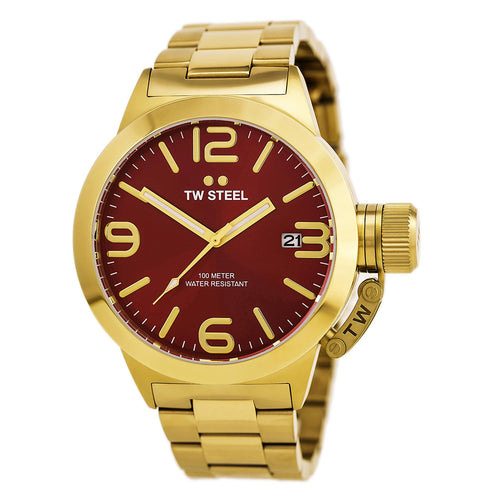 TW Steel CB111 Men's Canteen Red Dial Yellow Gold Plated Steel Bracelet Watch