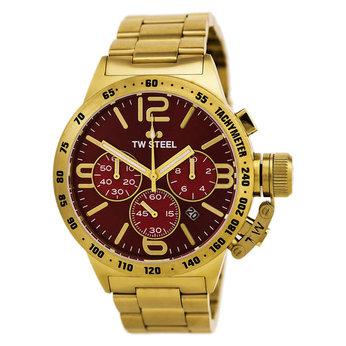 TW Steel CB113 Men's Canteen Red Dial Yellow Gold Plated Steel Bracelet Chronograph Watch