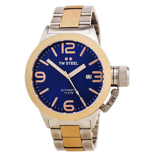 TW Steel CB145 Men's Canteen Bracelet Blue Dial Two Tone Rose Gold Steel Automatic Watch