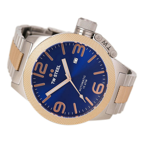 TW Steel CB146 Men's Canteen Bracelet Automatic Blue Dial Two Tone Rose Gold Steel Watch