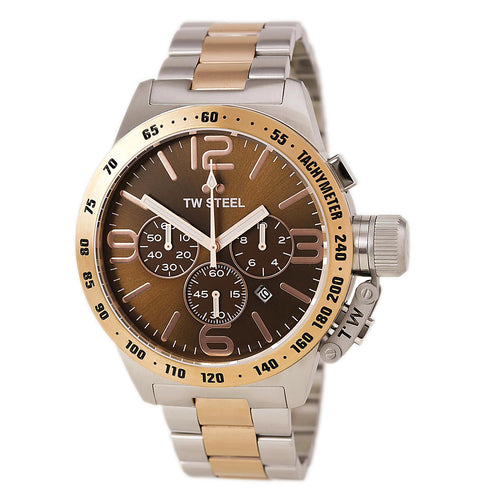 TW Steel CB154 Men's Canteen Bracelet Chronograph Brown Dial Two Tone Rose Gold Steel Watch