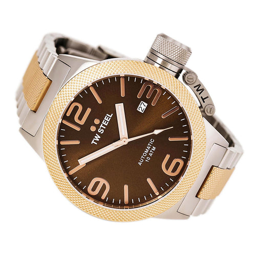 TW Steel CB155 Men's Canteen Bracelet Brown Dial Two Tone Rose Gold Steel Automatic Watch