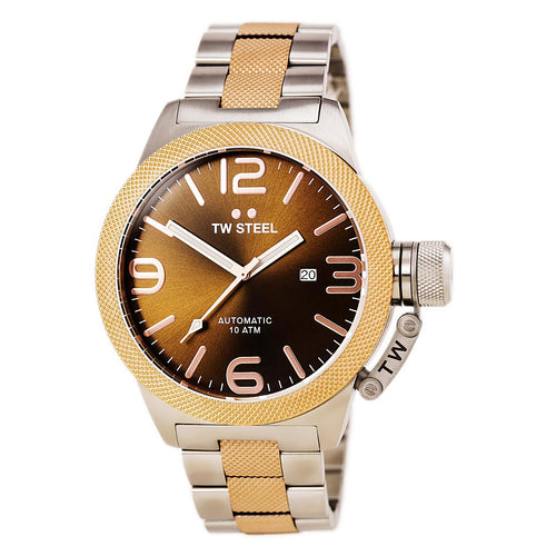 TW Steel CB156 Men's Canteen Bracelet Automatic Brown Dial Two Tone Rose Gold Steel Watch