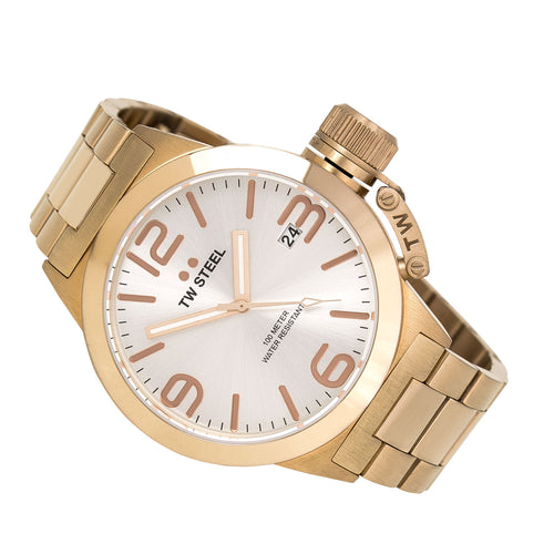 TW Steel CB161 Men's Canteen Bracelet Silver Dial Rose Gold Plated Steel Watch